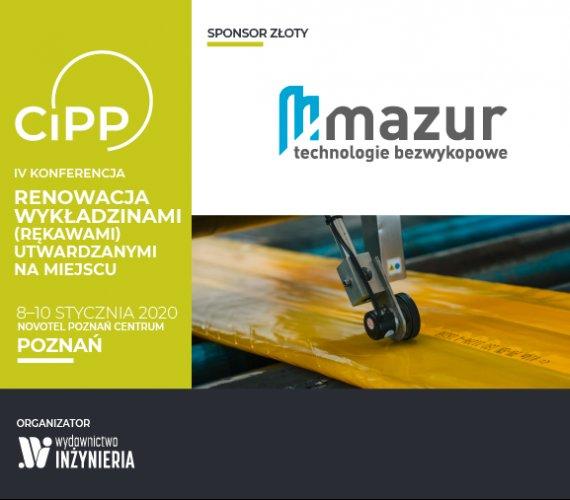 """MAZUR Złotym Sponsorem IV Konferencji """"Renowacja Wykładzinami (Rękawami) Utwardzanymi na Miejscu"""""""
