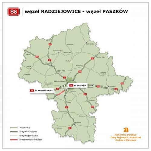 Orientacyjny przebieg trasy pomiędzy Radziejowicami a Paszkowem. Źródło: GDDKiA