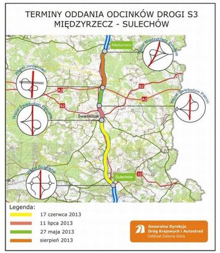 Mapa z archiwum GDDKiA o. Zielona Góra
