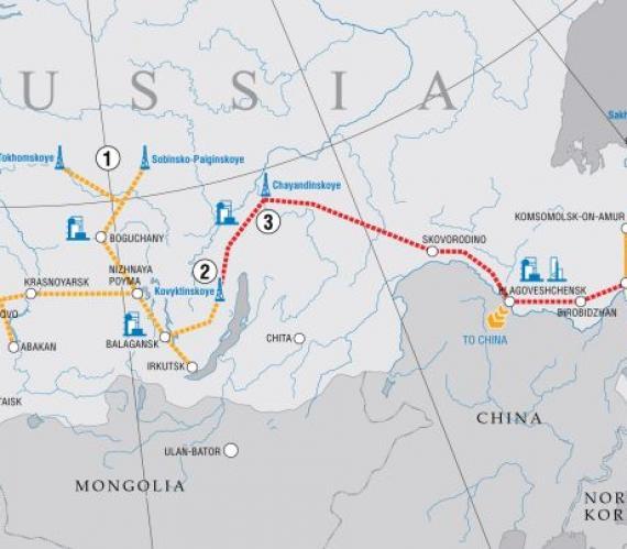 Trasa gazociągu Siła Syberii. Źródło: Gazprom