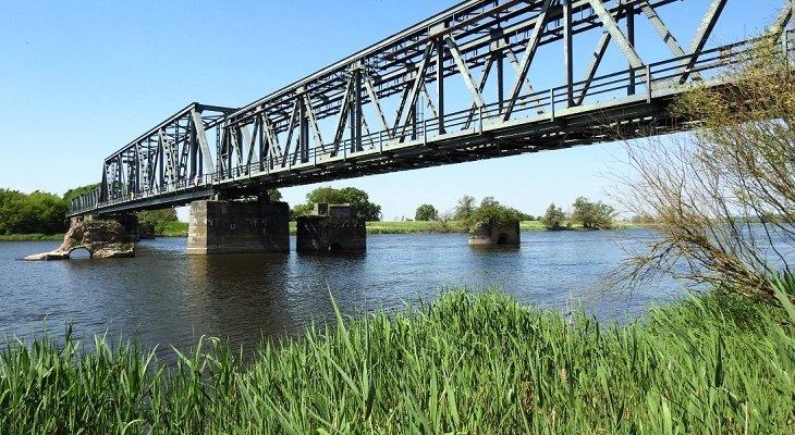 Most w Siekierkach – widok brzegu Odry po polskiej stronie na niemieckie przęsła mostu odbudowane w latach 1954-55 r. Fot. UMWZP