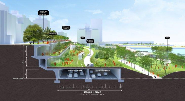 Projekt przeniesienia ruchu z drogi ekspresowej pod ziemię. Źródło: BIG