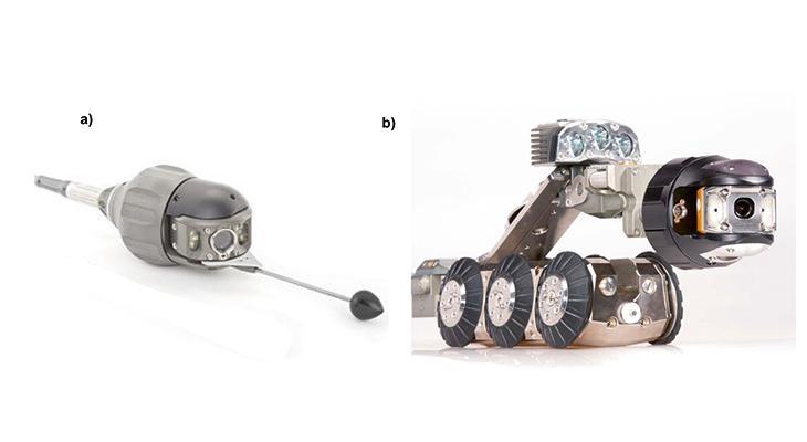 FOT. 1. | Przykład kamery do inspekcji przewodów o małych średnicach: głowica kamery KS 60 CL przepychana w przewodzie o średnicy od 100 mm (tu z drążkiem prowadzącym) (a), skonfigurowany zestaw kamerowy z tą samą głowicą (nowsza wersja – KS 60 DB) do pracy w przewodzie o średnicy do 500 mm (b) [12]