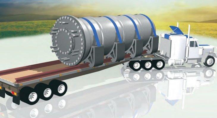 Wizualizacja małego reaktora firmy Rolls-Royce w transporcie. Źródło: IAEA