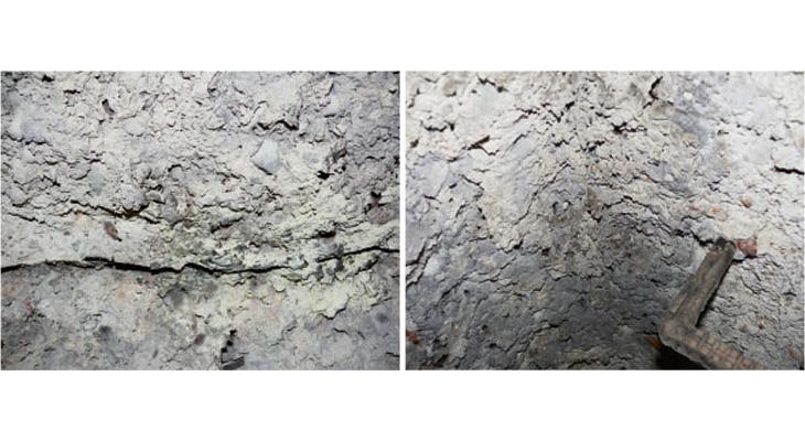 FOT. 1. | Korozja siarczanowa żelbetowej konstrukcji komór