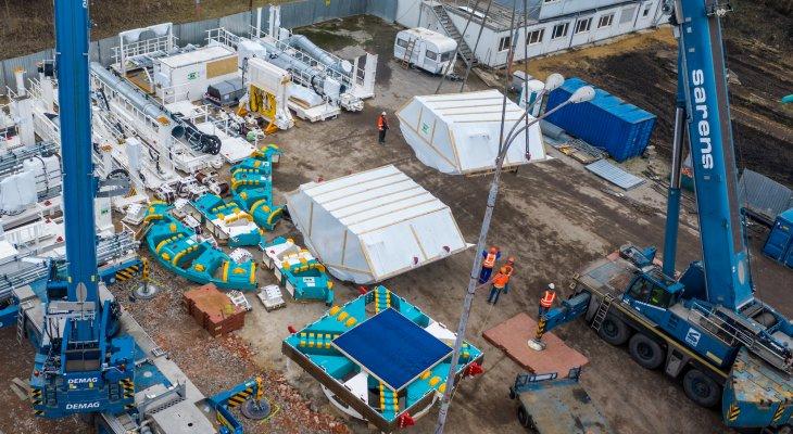 Plac budowy. Transport maszyny TBM. Fot. PKP PLK