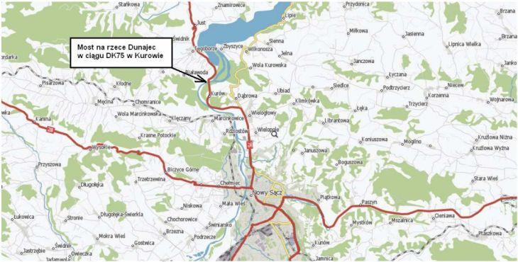 Lokalizacja mostu w Kurowie. Źródło: GDDKiA