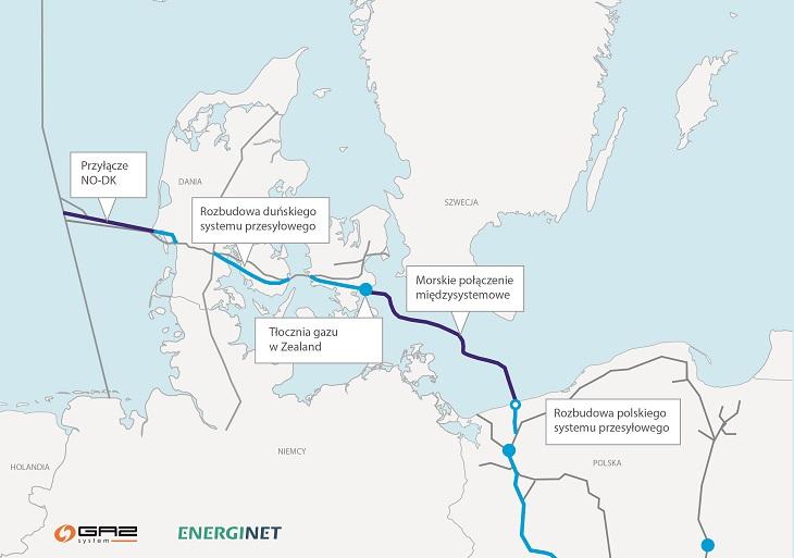 Trasa Baltic Pipe. Źródło: Gaz-System