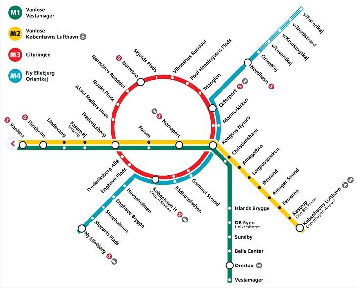 Plan metra po rozbudowie. Źródło: Metroselskabet