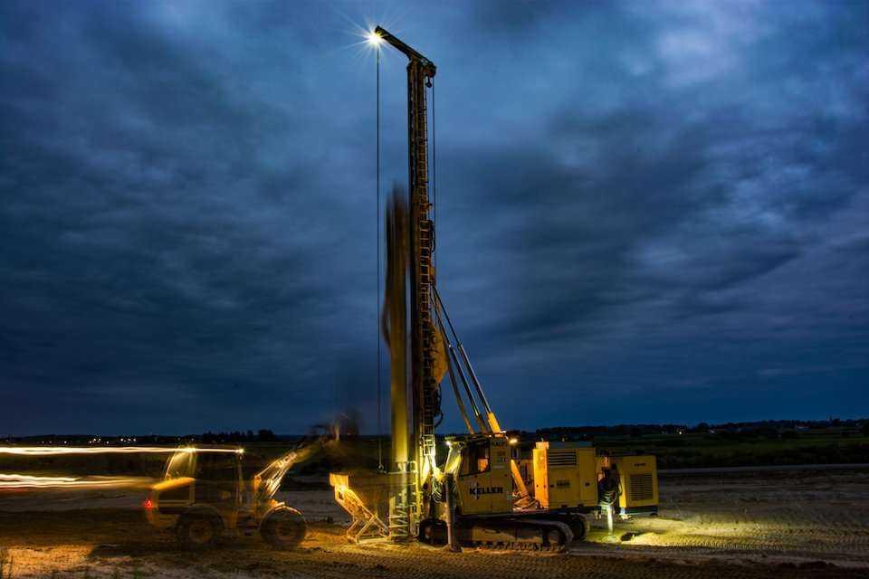 Keller Polska wykonuje kolumny żwirowe na budowie zbiornika Racibórz Dolny