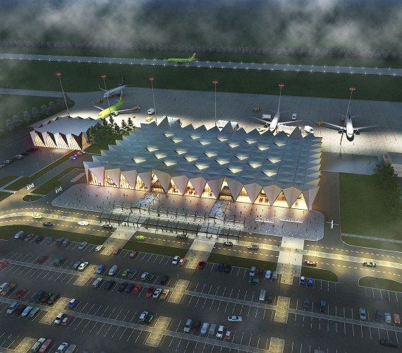Port lotniczy jak namioty rdzennych mieszkańców Syberii