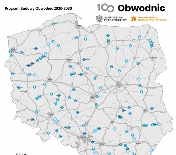 Budowa 100 obwodnic w Polsce [mapy]