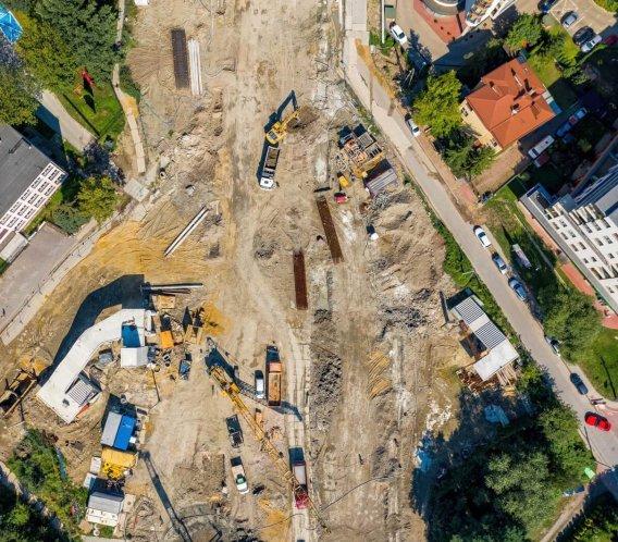 Ale widok! Budowa Trasy Łagiewnickiej z drona