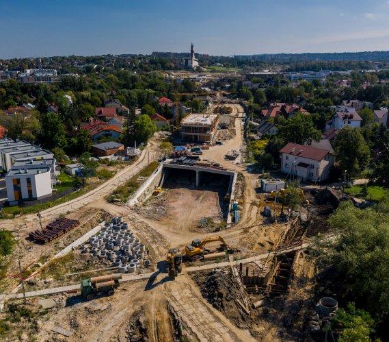 Postępy na budowie Trasy Łagiewnickiej w Krakowie