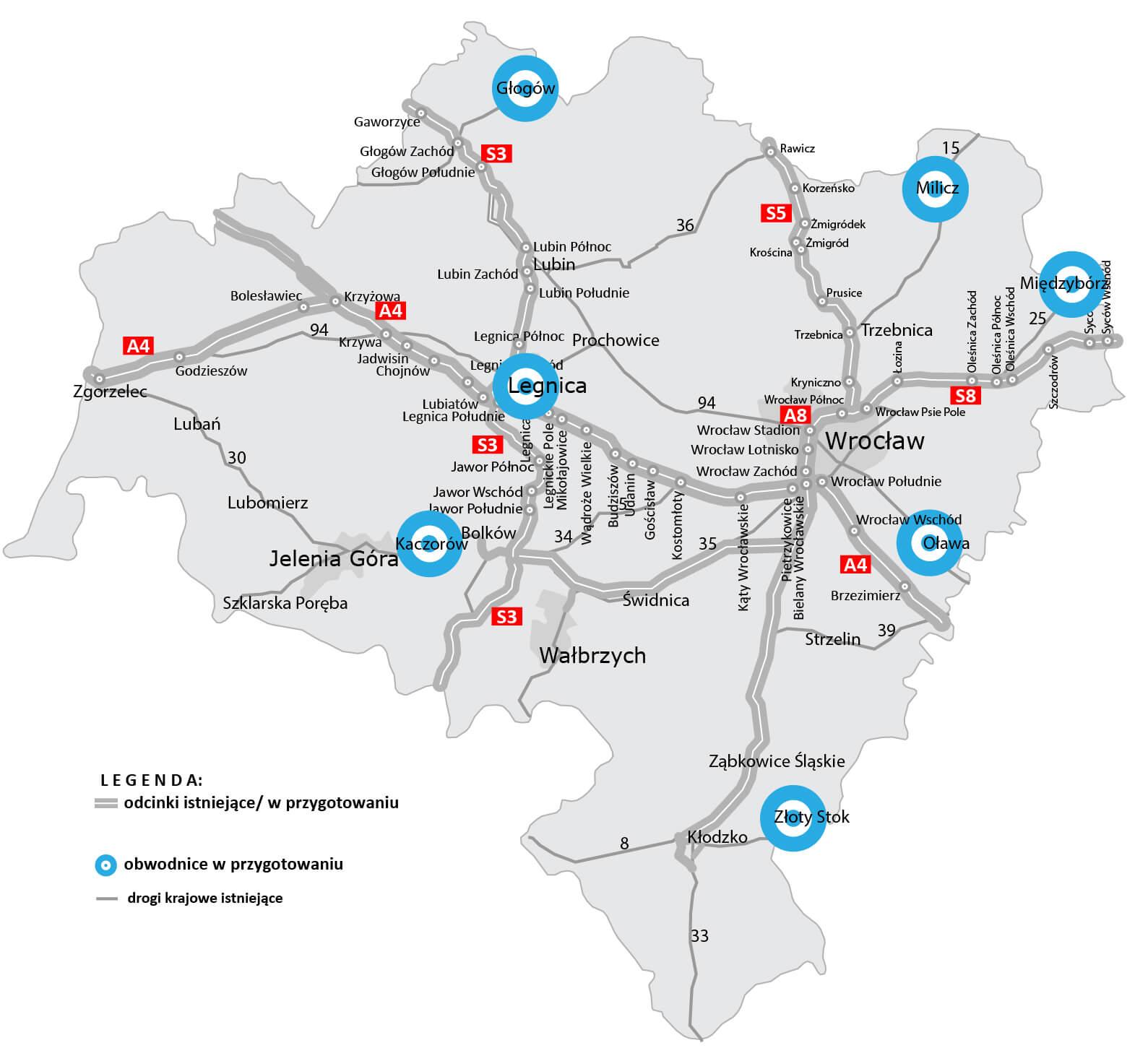 Obwodnice planowane w woj. dolnośląskim. Źródło: GDDKiA