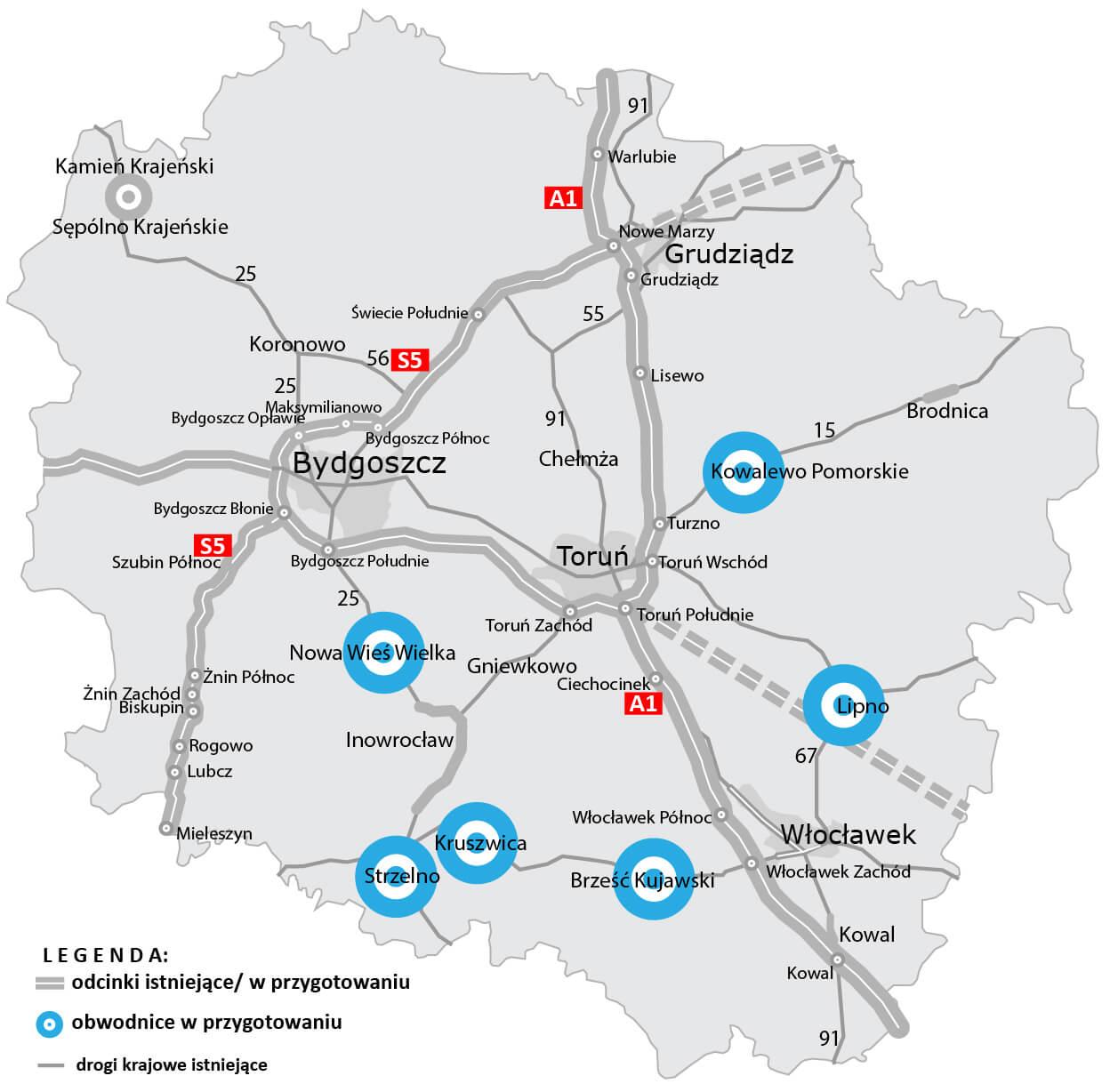 Obwodnice planowane w woj. kujawsko-pomorskim. Źródło: GDDKiA