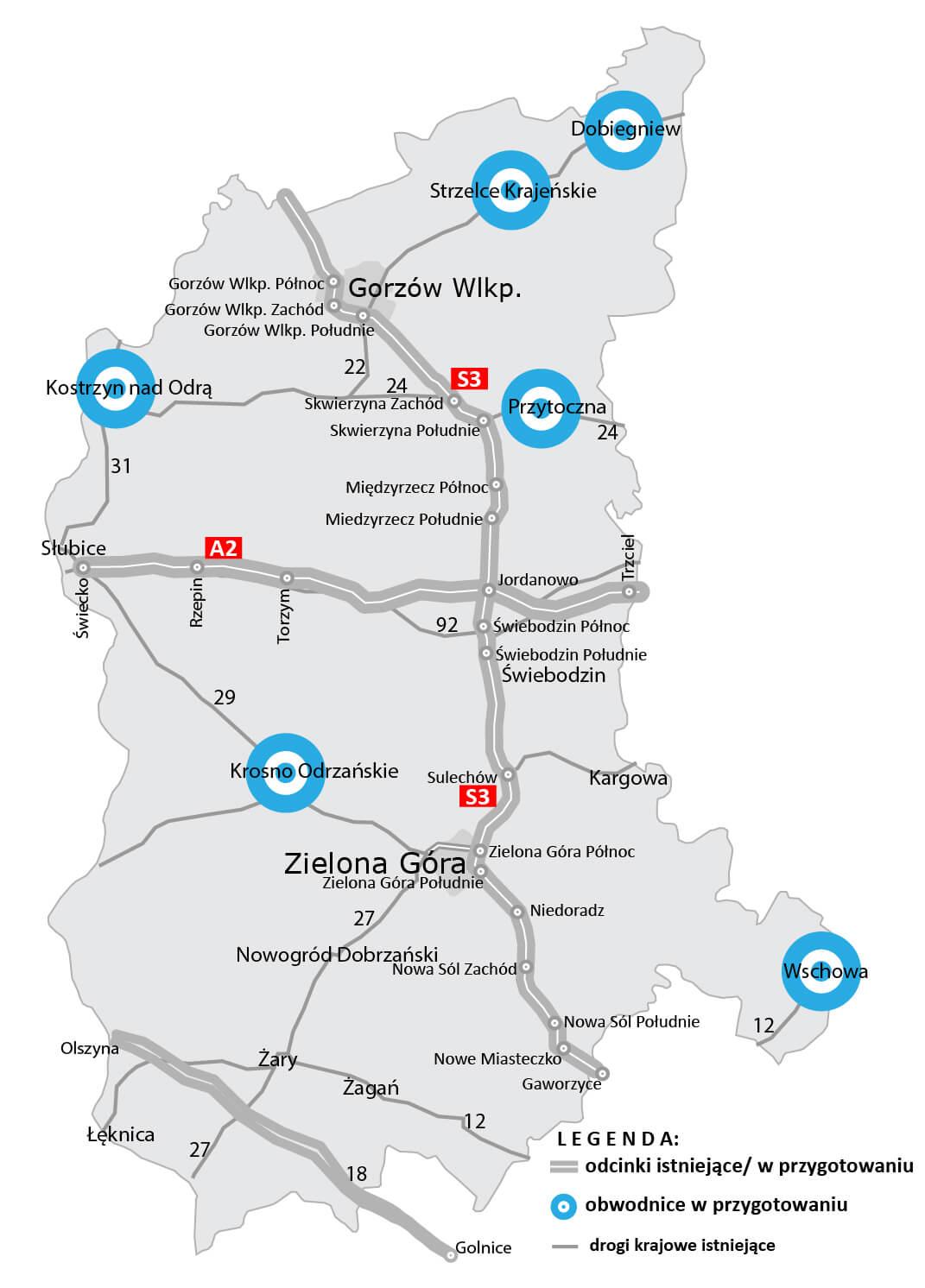 Obwodnice planowane w woj.  lubuskim. Źródło: GDDKiA