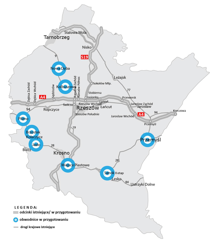 Obwodnice planowane w woj. podkarpackim. Źródło: GDDKiA