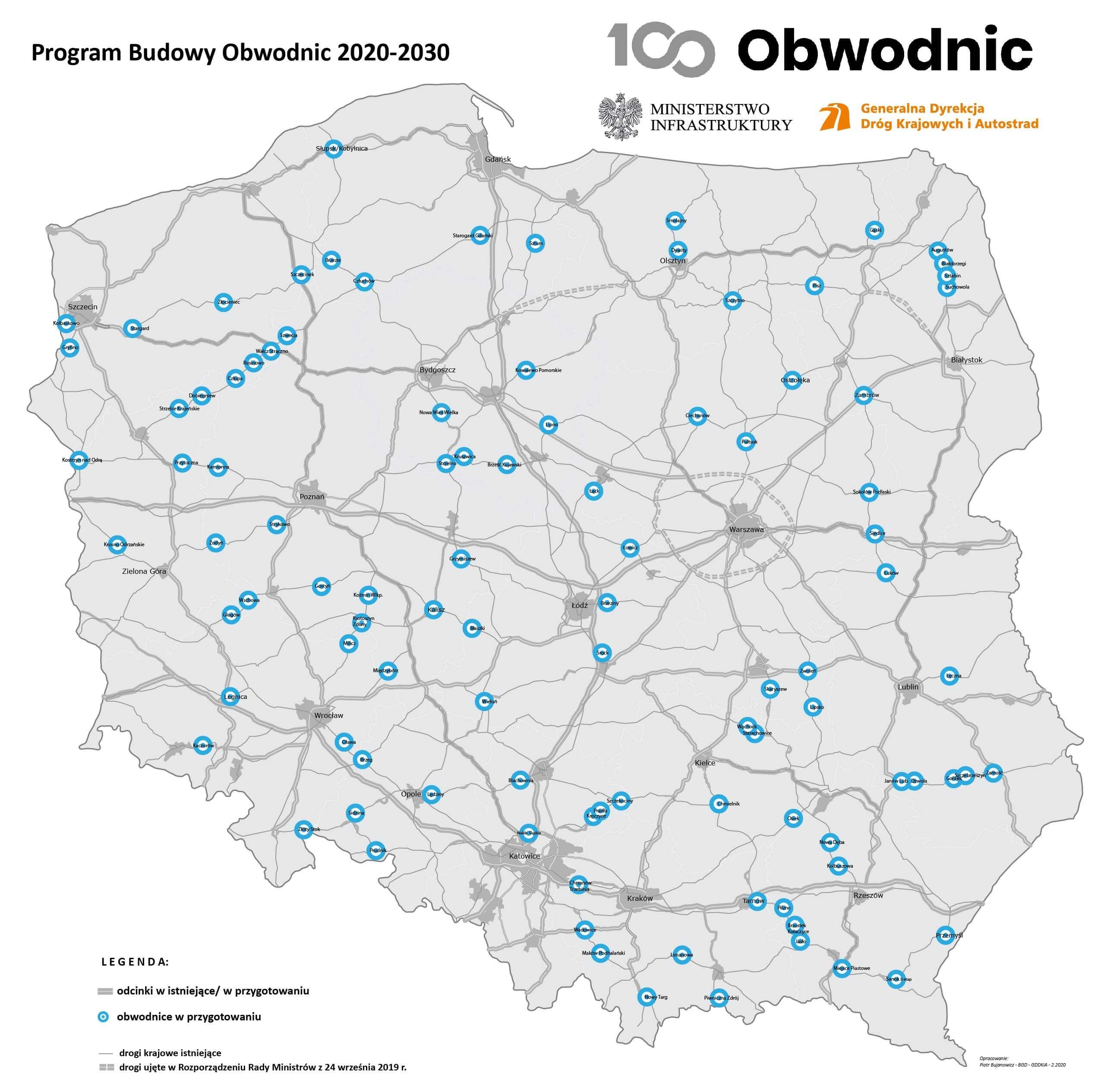 Budowa 100 obwodnic w Polsce. Źródło: GDDKiA
