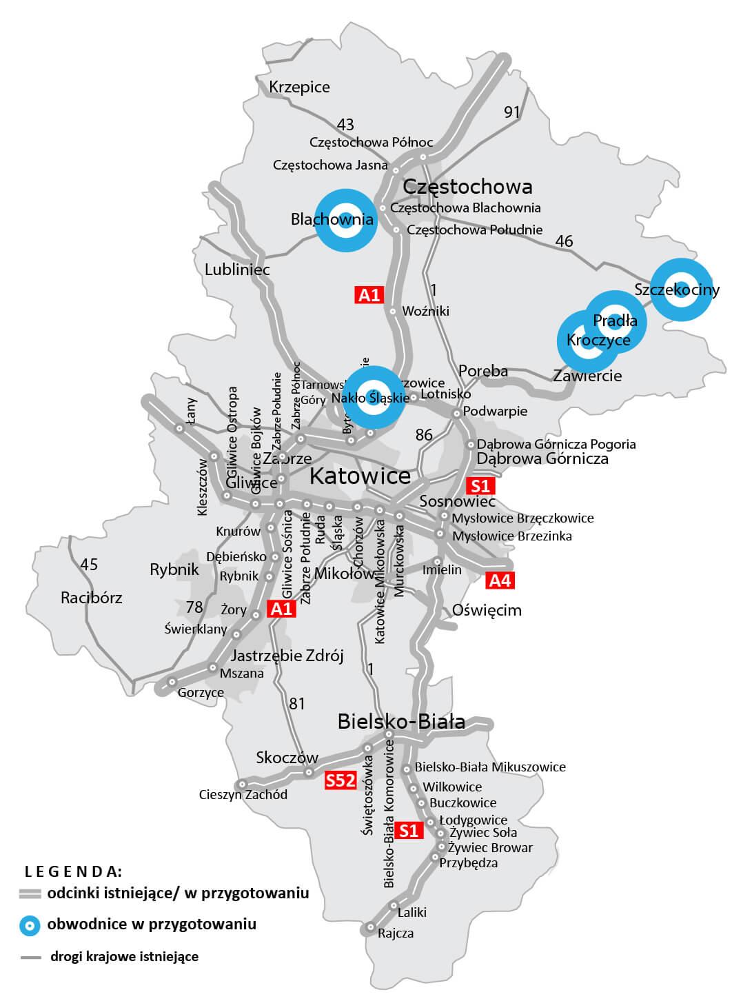 Obwodnice planowane w woj. śląskim. Źródło: GDDKiA