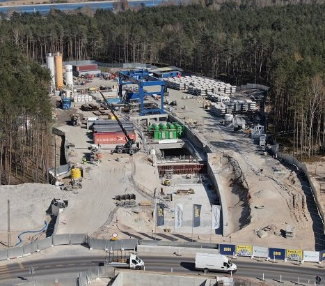 Postój TBM na budowie tunelu w Świnoujściu