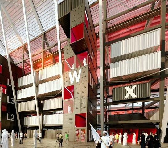 Stadion piłkarski z kontenerów