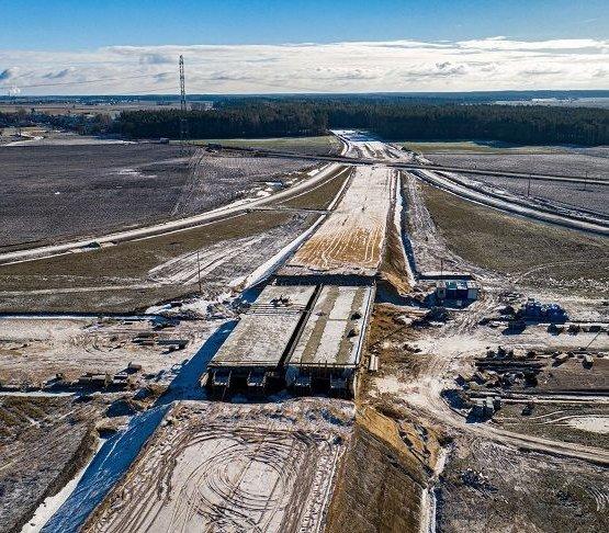 Budowa drogi S61 Szczuczyn–Ełk z lotu ptaka